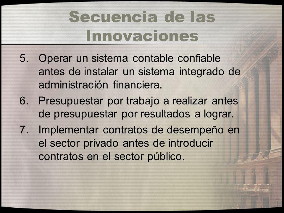 Secuencia de las Innovaciones 5.Operar un sistema contable confiable antes de instalar un sistema integrado de administración financiera. 6.Presupuest