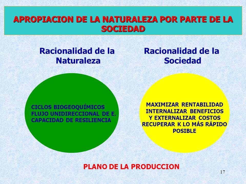 17 APROPIACION DE LA NATURALEZA POR PARTE DE LA SOCIEDAD Racionalidad de la Naturaleza Racionalidad de la Sociedad MAXIMIZAR RENTABILIDAD INTERNALIZAR