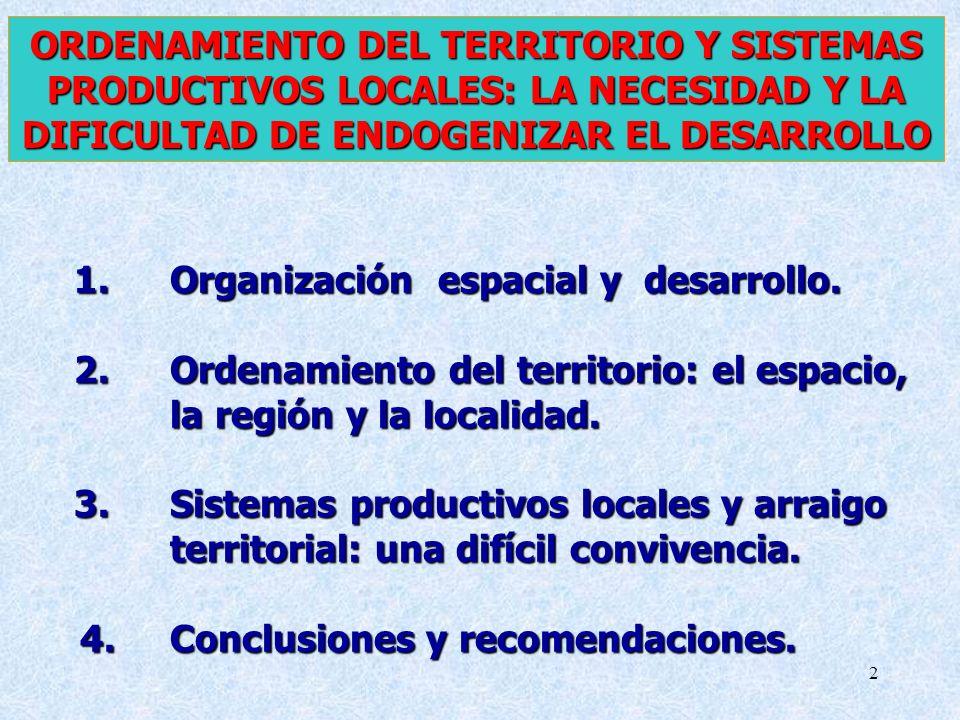 2 ORDENAMIENTO DEL TERRITORIO Y SISTEMAS PRODUCTIVOS LOCALES: LA NECESIDAD Y LA DIFICULTAD DE ENDOGENIZAR EL DESARROLLO 1.Organización espacial y desa