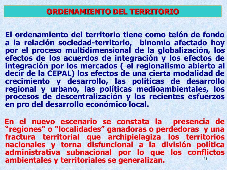 21 El ordenamiento del territorio tiene como telón de fondo a la relación sociedad-territorio, binomio afectado hoy por el proceso multidimensional de