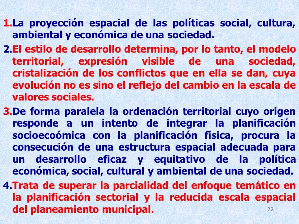 22 1.La proyección espacial de las políticas social, cultura, ambiental y económica de una sociedad. 2.El estilo de desarrollo determina, por lo tanto