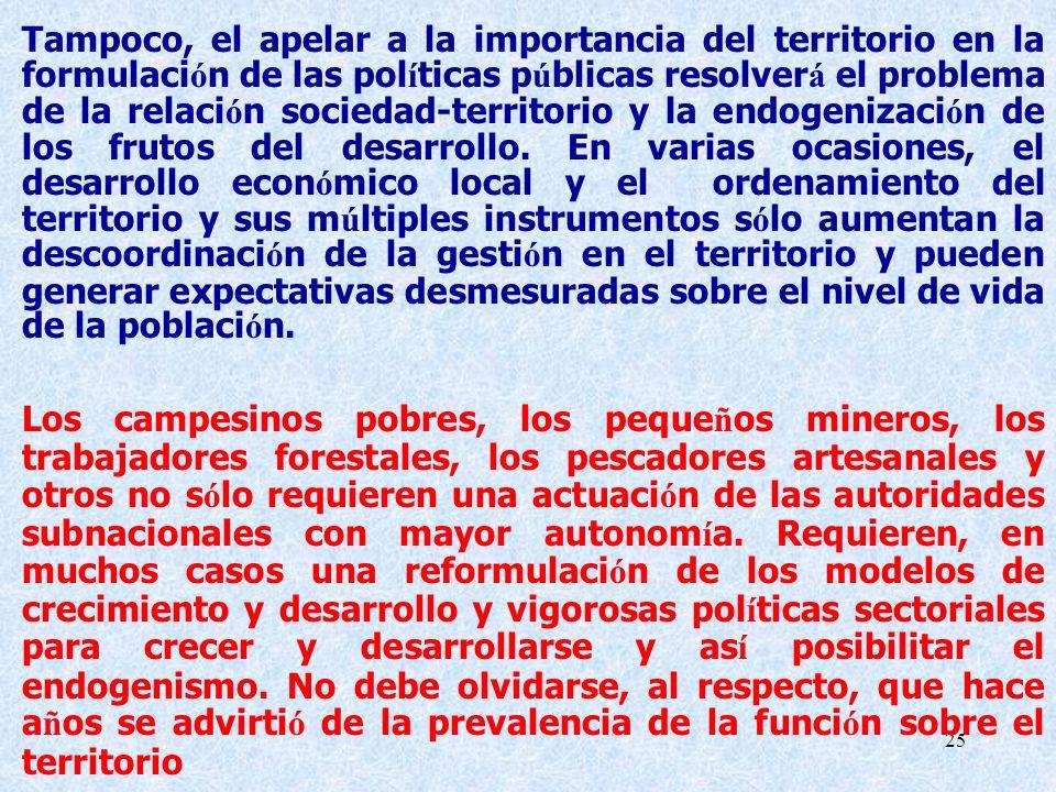 25 Tampoco, el apelar a la importancia del territorio en la formulaci ó n de las pol í ticas p ú blicas resolver á el problema de la relaci ó n socied