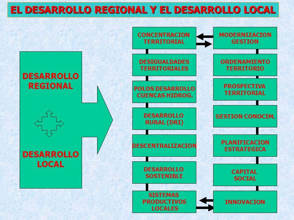 29 EL DESARROLLO REGIONAL Y EL DESARROLLO LOCAL CONCENTRACION TERRITORIAL DESIGUALDADES TERRITORIALES DESCENTRALIZACION DESARROLLO RURAL (DRI) DESARRO