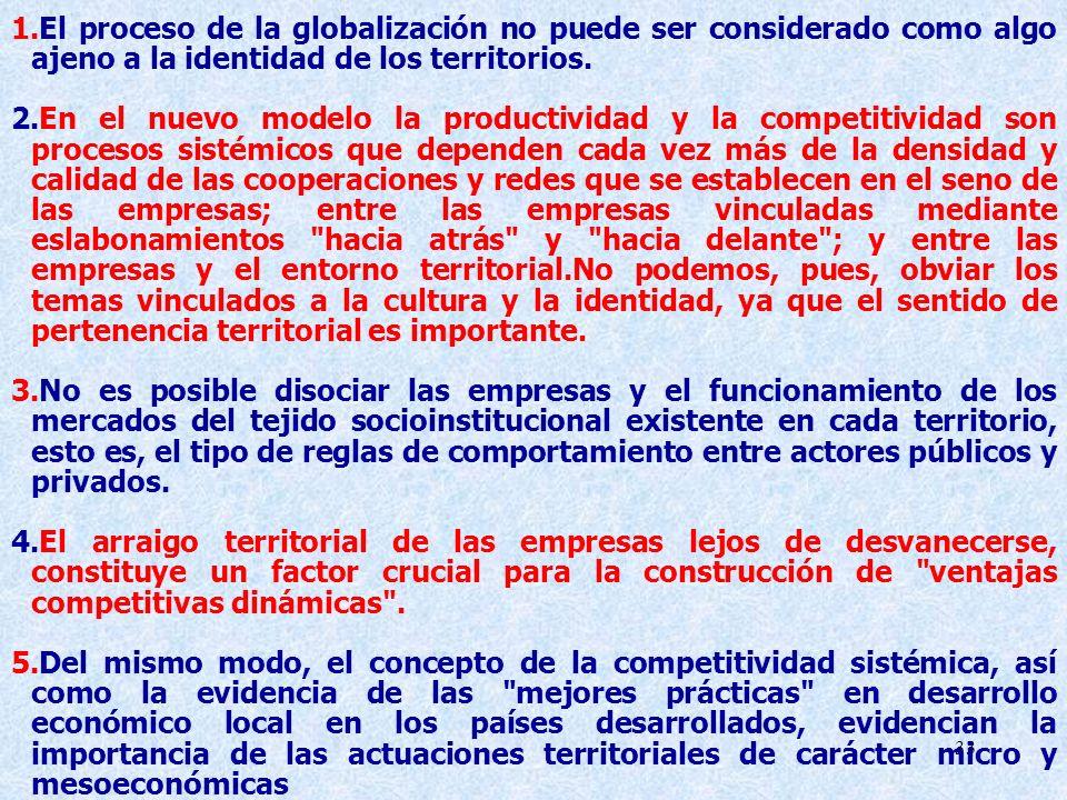 33 1.El proceso de la globalización no puede ser considerado como algo ajeno a la identidad de los territorios. 2.En el nuevo modelo la productividad