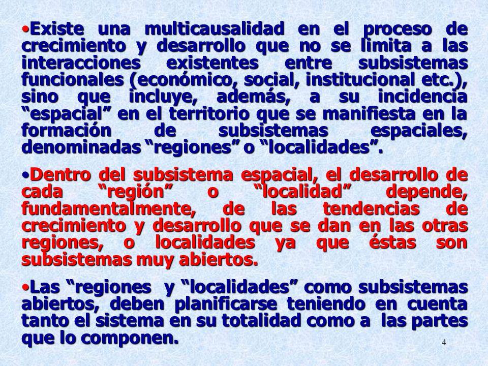 4 Existe una multicausalidad en el proceso de crecimiento y desarrollo que no se limita a las interacciones existentes entre subsistemas funcionales (