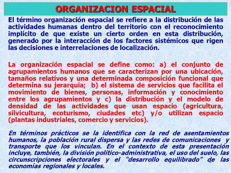 6 El término organización espacial se refiere a la distribución de las actividades humanas dentro del territorio con el reconocimiento implícito de qu