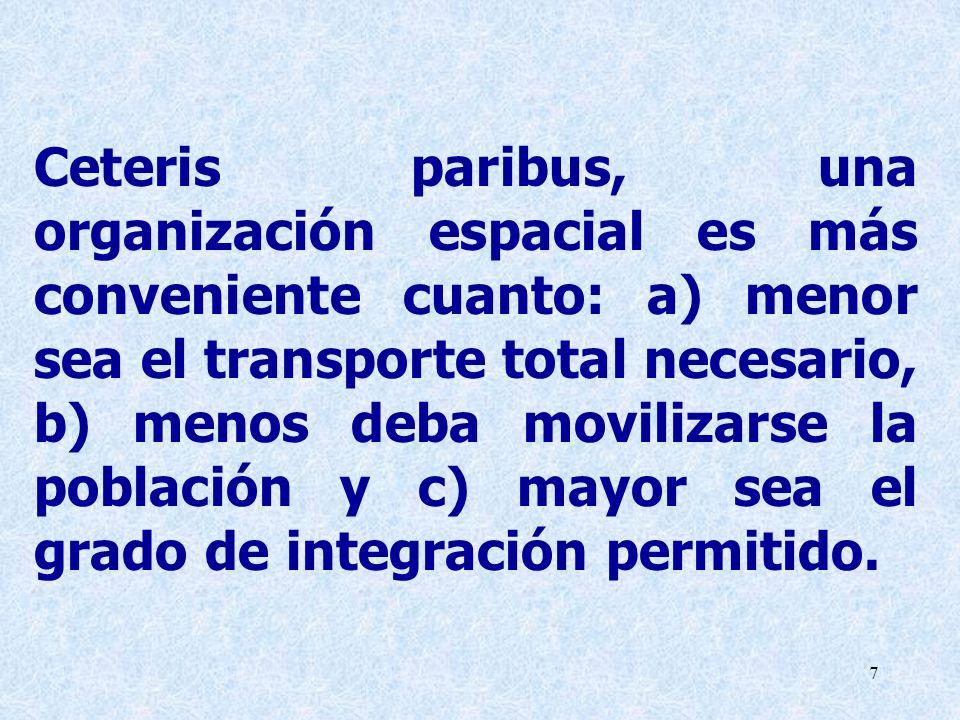7 Ceteris paribus, una organización espacial es más conveniente cuanto: a) menor sea el transporte total necesario, b) menos deba movilizarse la pobla