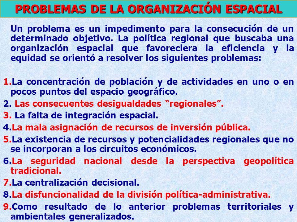 8 Un problema es un impedimento para la consecución de un determinado objetivo. La política regional que buscaba una organización espacial que favorec