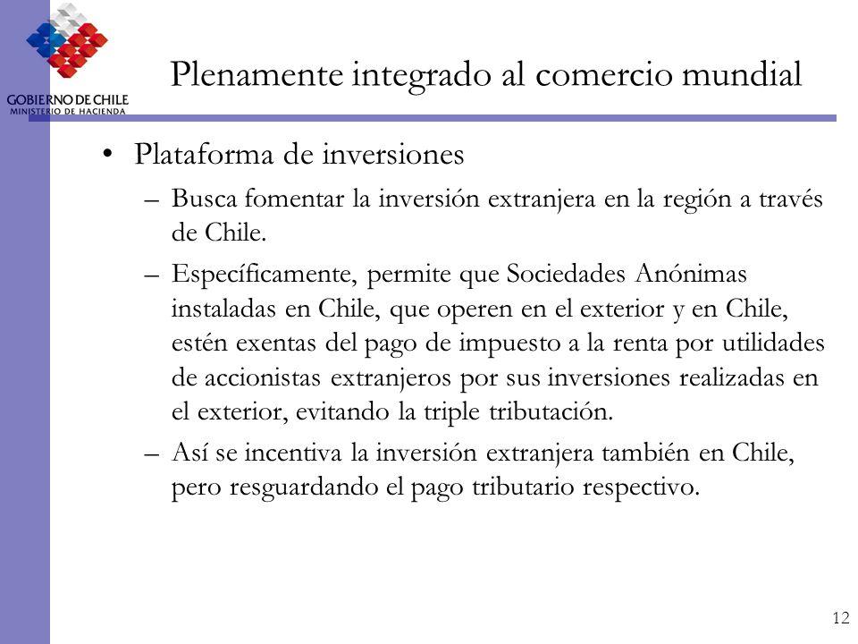 12 Plenamente integrado al comercio mundial Plataforma de inversiones –Busca fomentar la inversión extranjera en la región a través de Chile.