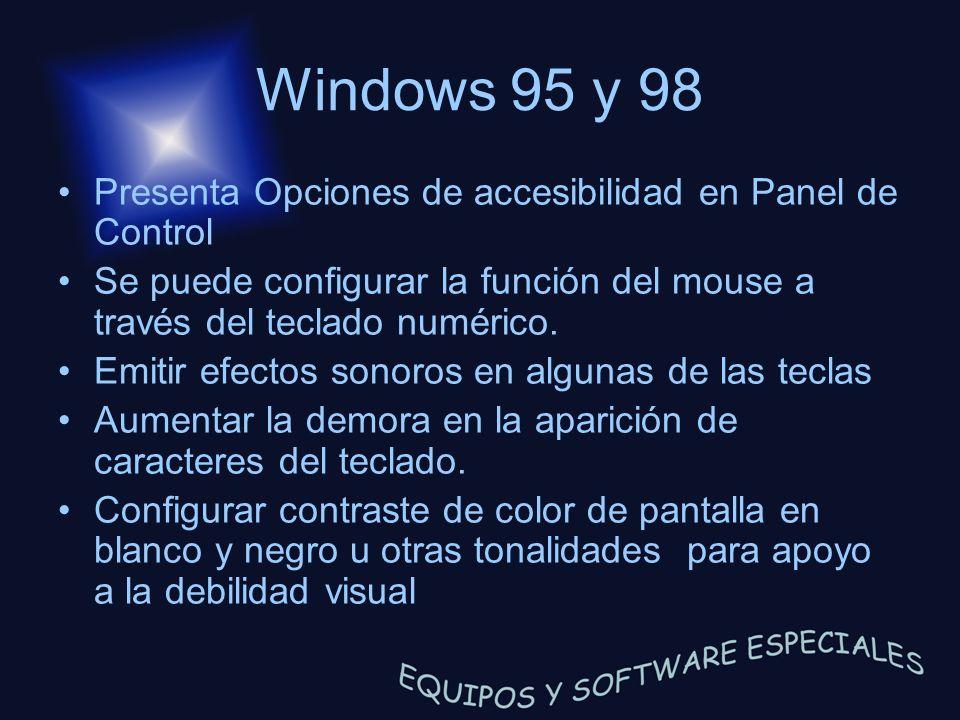 Windows 95 y 98 Presenta Opciones de accesibilidad en Panel de Control Se puede configurar la función del mouse a través del teclado numérico. Emitir