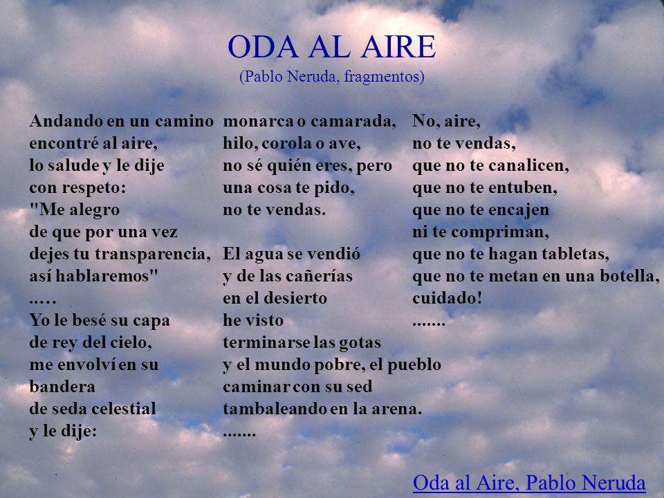 CEPAL/ILPES ODA AL AIRE (Pablo Neruda, fragmentos) Andando en un camino encontré al aire, lo salude y le dije con respeto:
