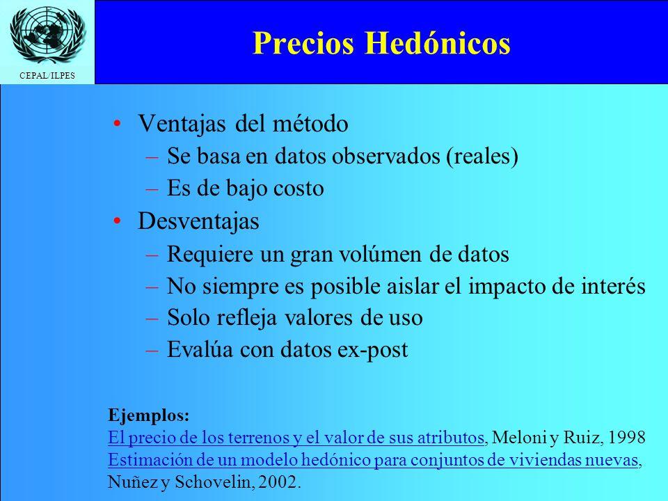CEPAL/ILPES Precios Hedónicos Ventajas del método –S–Se basa en datos observados (reales) –E–Es de bajo costo Desventajas –R–Requiere un gran volúmen