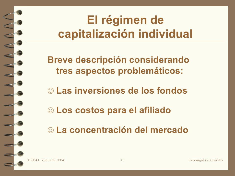 CEPAL, enero de 2004Cetrángolo y Grushka15 El régimen de capitalización individual Breve descripción considerando tres aspectos problemáticos: Las inv