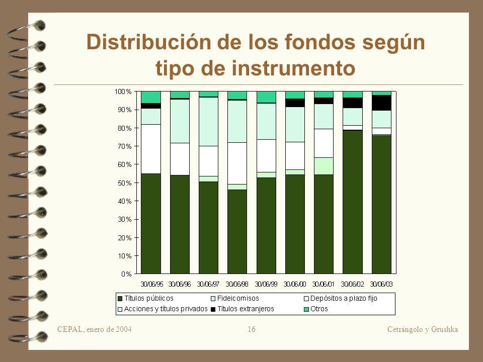 CEPAL, enero de 2004Cetrángolo y Grushka16 Distribución de los fondos según tipo de instrumento