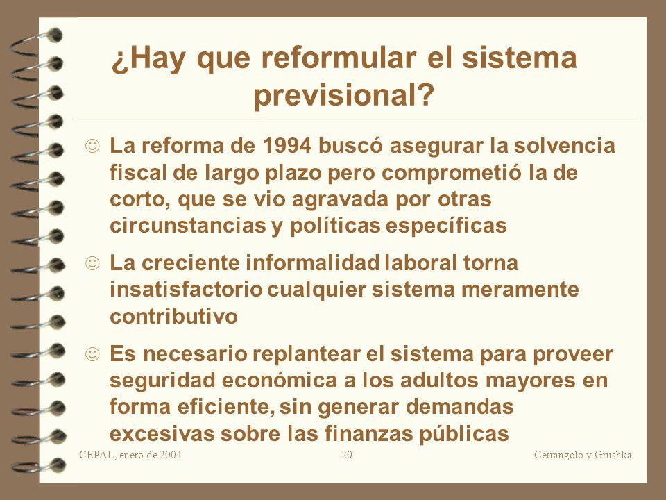 CEPAL, enero de 2004Cetrángolo y Grushka20 ¿Hay que reformular el sistema previsional? La reforma de 1994 buscó asegurar la solvencia fiscal de largo