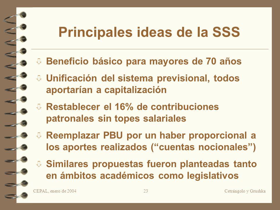 CEPAL, enero de 2004Cetrángolo y Grushka23 Principales ideas de la SSS Beneficio básico para mayores de 70 años Unificación del sistema previsional, t