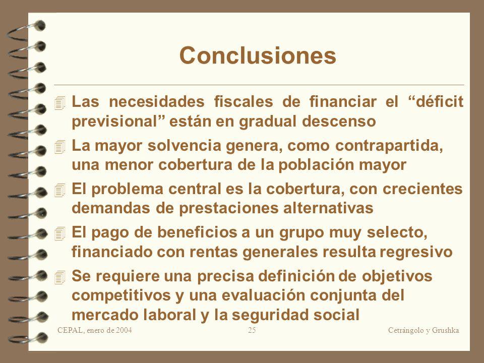CEPAL, enero de 2004Cetrángolo y Grushka25 Conclusiones Las necesidades fiscales de financiar el déficit previsional están en gradual descenso La mayo