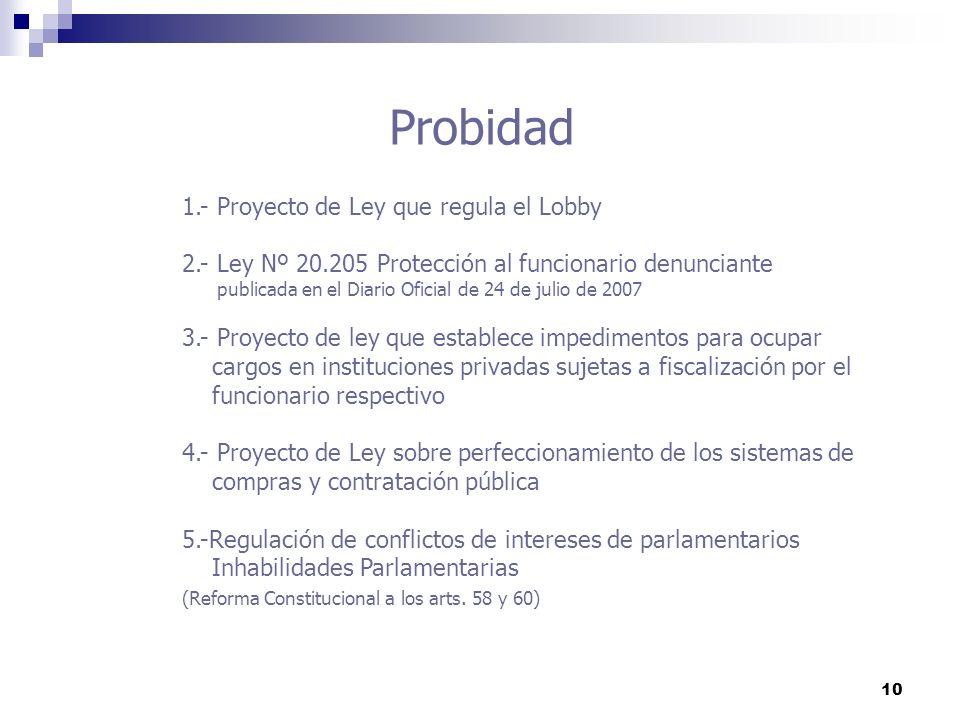 10 Probidad 1.- Proyecto de Ley que regula el Lobby 2.- Ley Nº 20.205 Protección al funcionario denunciante publicada en el Diario Oficial de 24 de ju