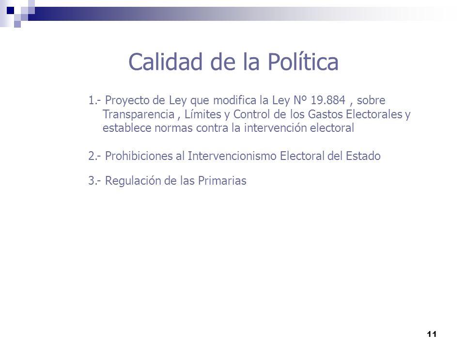 11 Calidad de la Política 1.- Proyecto de Ley que modifica la Ley Nº 19.884, sobre Transparencia, Límites y Control de los Gastos Electorales y establ