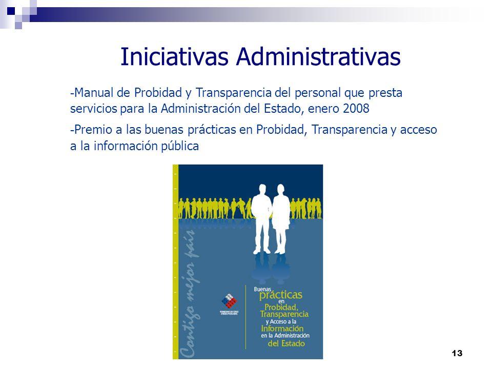 13 Iniciativas Administrativas - Manual de Probidad y Transparencia del personal que presta servicios para la Administración del Estado, enero 2008 -