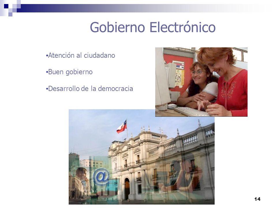14 Gobierno Electrónico Atención al ciudadano Buen gobierno Desarrollo de la democracia