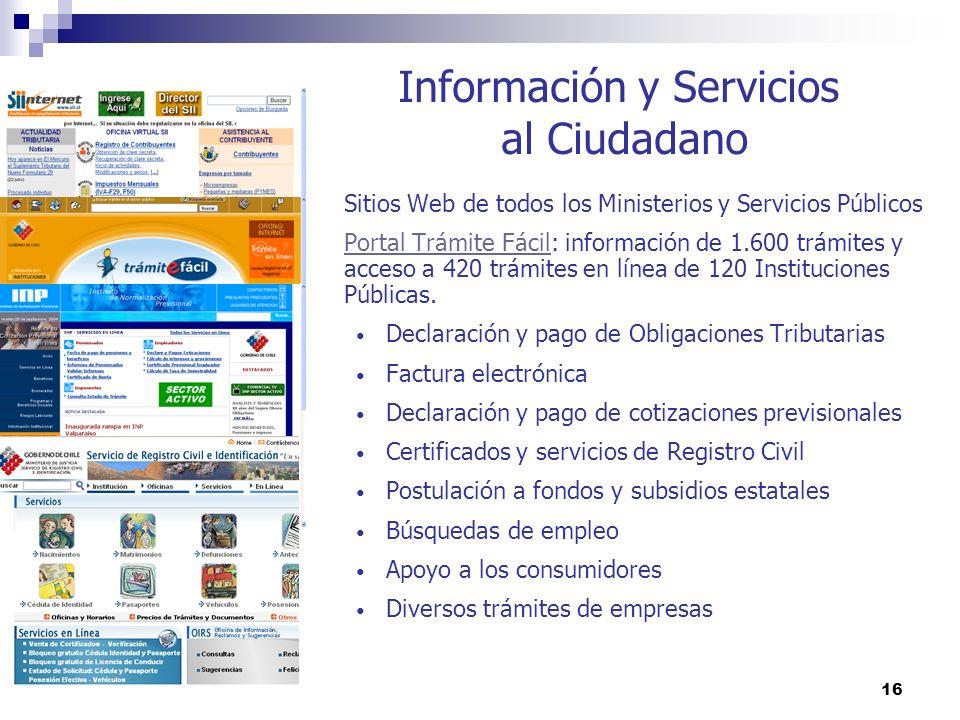 16 Información y Servicios al Ciudadano Sitios Web de todos los Ministerios y Servicios Públicos Portal Trámite FácilPortal Trámite Fácil: información