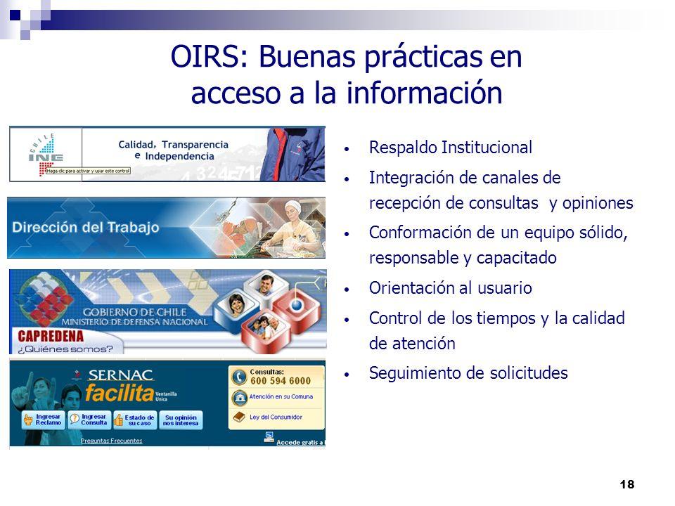 18 OIRS: Buenas prácticas en acceso a la información Respaldo Institucional Integración de canales de recepción de consultas y opiniones Conformación