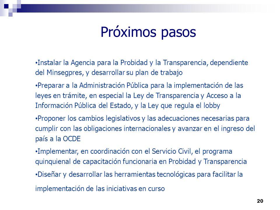 20 Próximos pasos Instalar la Agencia para la Probidad y la Transparencia, dependiente del Minsegpres, y desarrollar su plan de trabajo Preparar a la