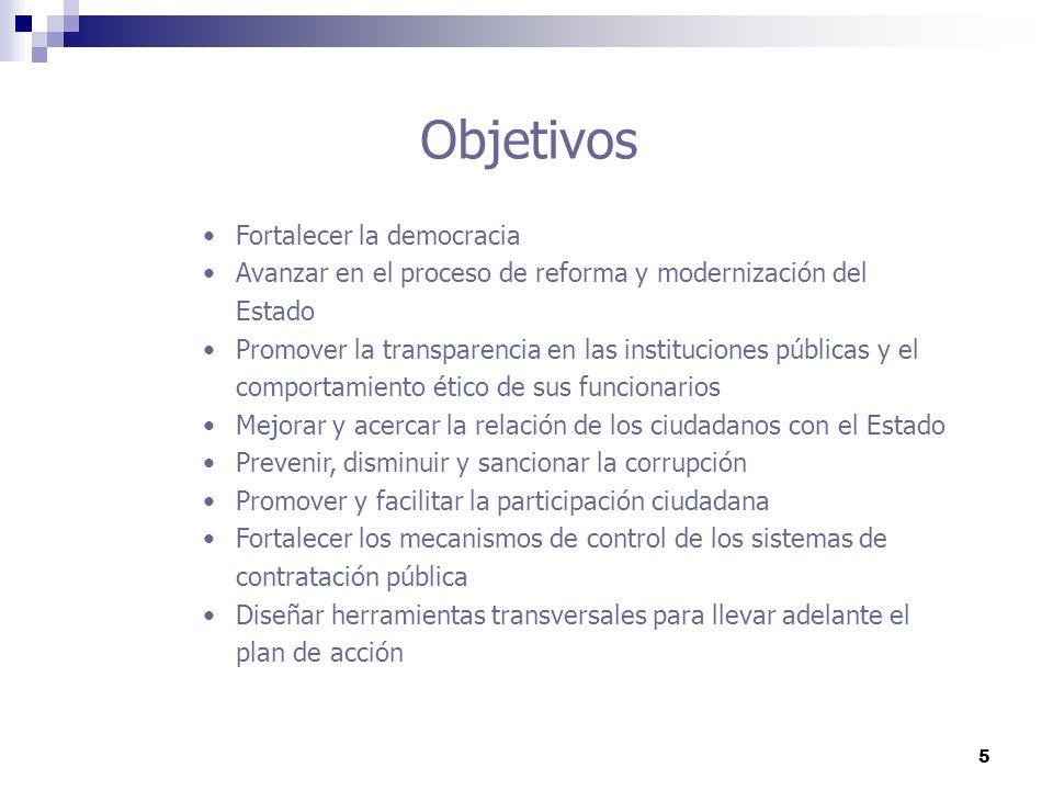 5 Objetivos Fortalecer la democracia Avanzar en el proceso de reforma y modernización del Estado Promover la transparencia en las instituciones públic