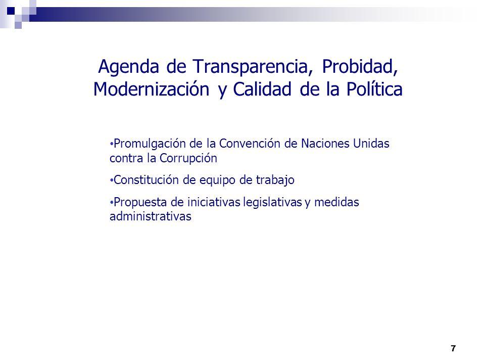 7 Agenda de Transparencia, Probidad, Modernización y Calidad de la Política Promulgación de la Convención de Naciones Unidas contra la Corrupción Cons