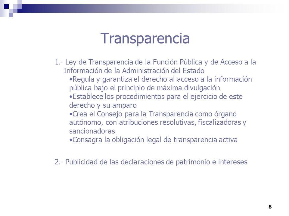 8 Transparencia 1.- Ley de Transparencia de la Función Pública y de Acceso a la Información de la Administración del Estado Regula y garantiza el dere