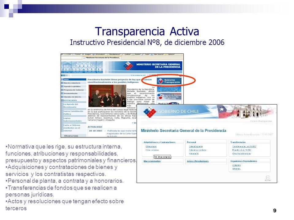9 Transparencia Activa Instructivo Presidencial Nº8, de diciembre 2006 Normativa que les rige, su estructura interna, funciones, atribuciones y respon