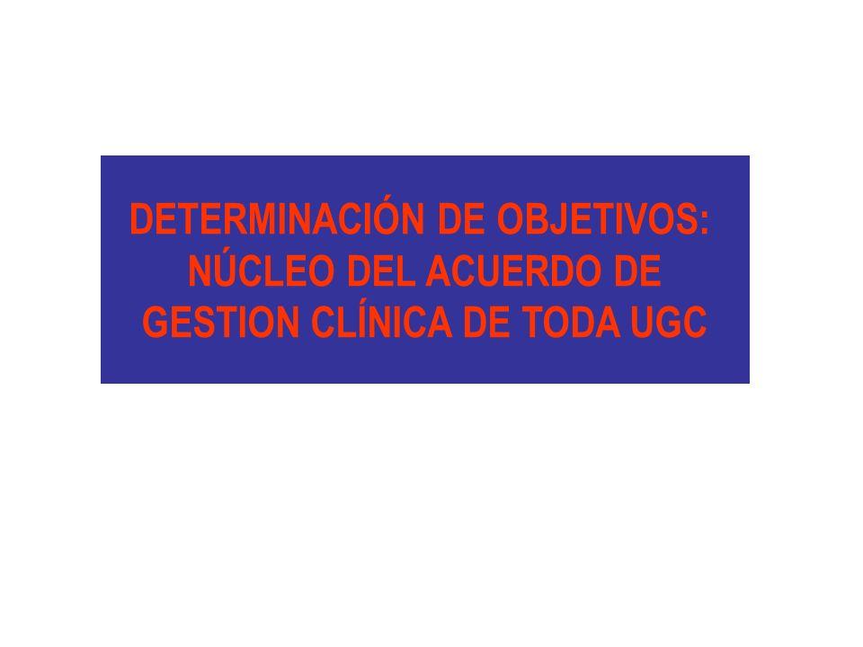 DETERMINACIÓN DE OBJETIVOS: NÚCLEO DEL ACUERDO DE GESTION CLÍNICA DE TODA UGC