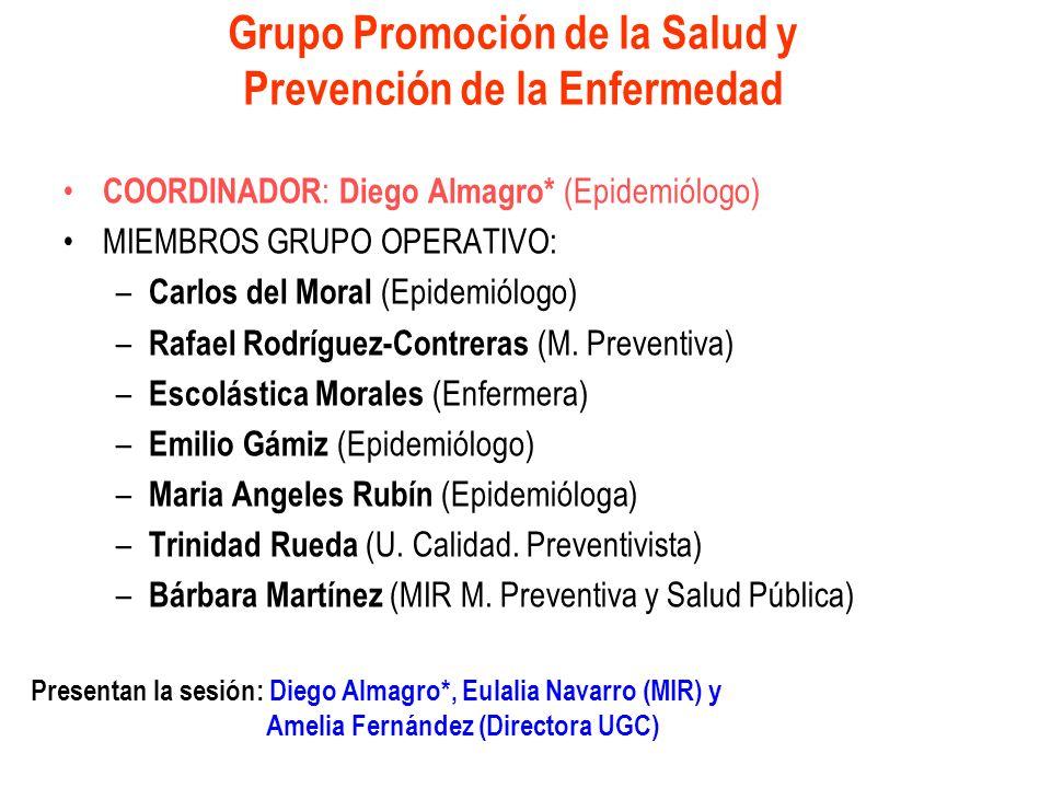 Grupo Promoción de la Salud y Prevención de la Enfermedad COORDINADOR : Diego Almagro* (Epidemiólogo) MIEMBROS GRUPO OPERATIVO: – Carlos del Moral (Ep