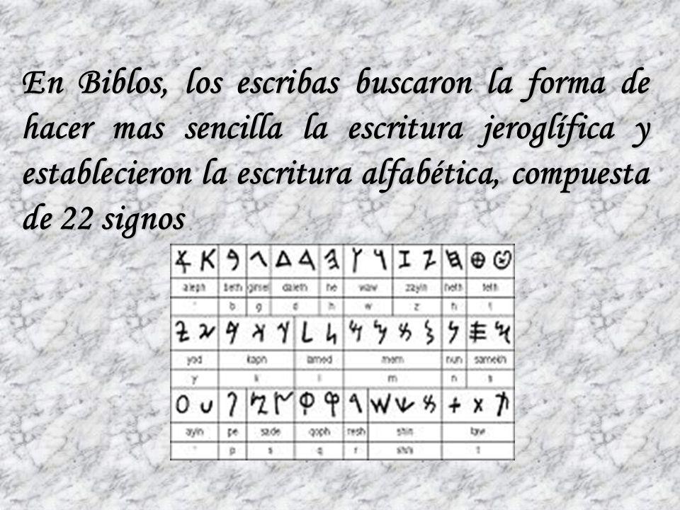 En el siglo XV A.de C. los escribas de Ugarit consiguieron reducir los signos a 30 de la escritura cuneiforme