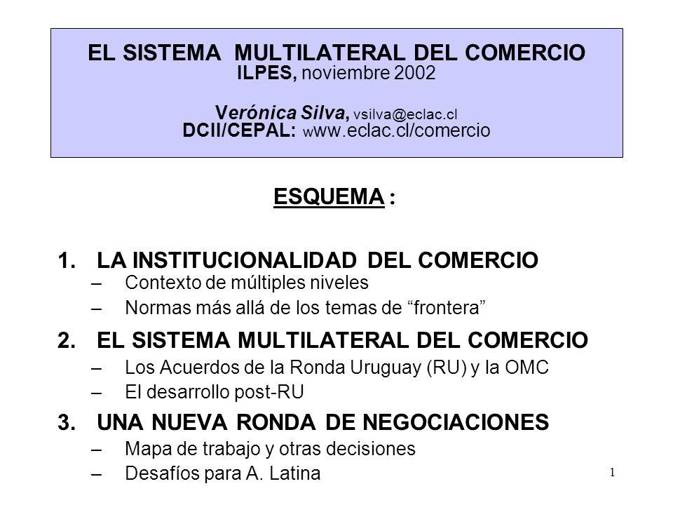 1 EL SISTEMA MULTILATERAL DEL COMERCIO ILPES, noviembre 2002 Verónica Silva, vsilva@eclac.cl DCII/CEPAL: l w ww.eclac.cl/comercio l ESQUEMA : 1.LA INS