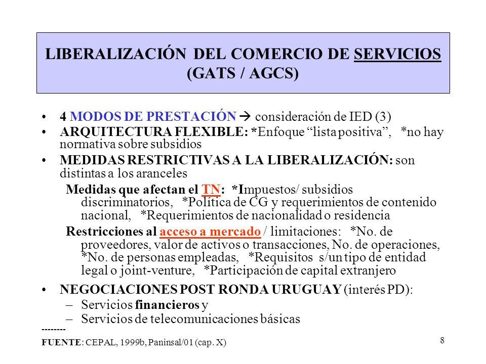 8 LIBERALIZACIÓN DEL COMERCIO DE SERVICIOS (GATS / AGCS) 4 MODOS DE PRESTACIÓN consideración de IED (3) ARQUITECTURA FLEXIBLE: *Enfoque lista positiva