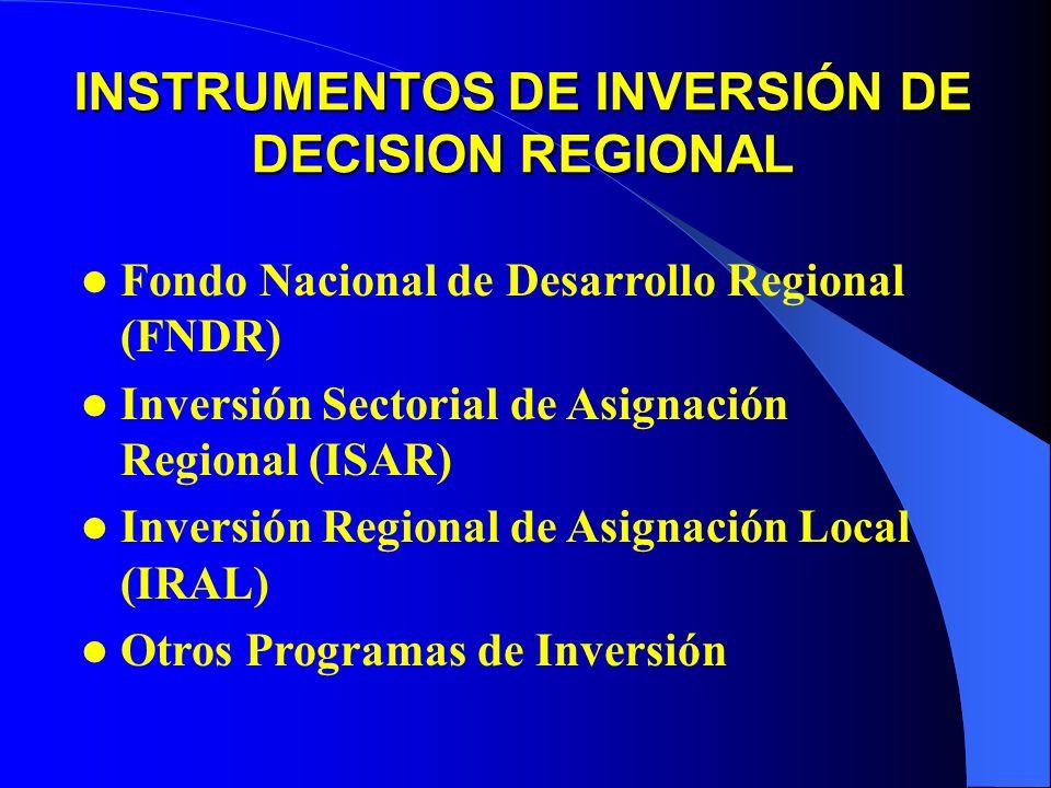 Fondo Nacional de Desarrollo Regional (FNDR) Inversión Sectorial de Asignación Regional (ISAR) Inversión Regional de Asignación Local (IRAL) Otros Programas de Inversión INSTRUMENTOS DE INVERSIÓN DE DECISION REGIONAL