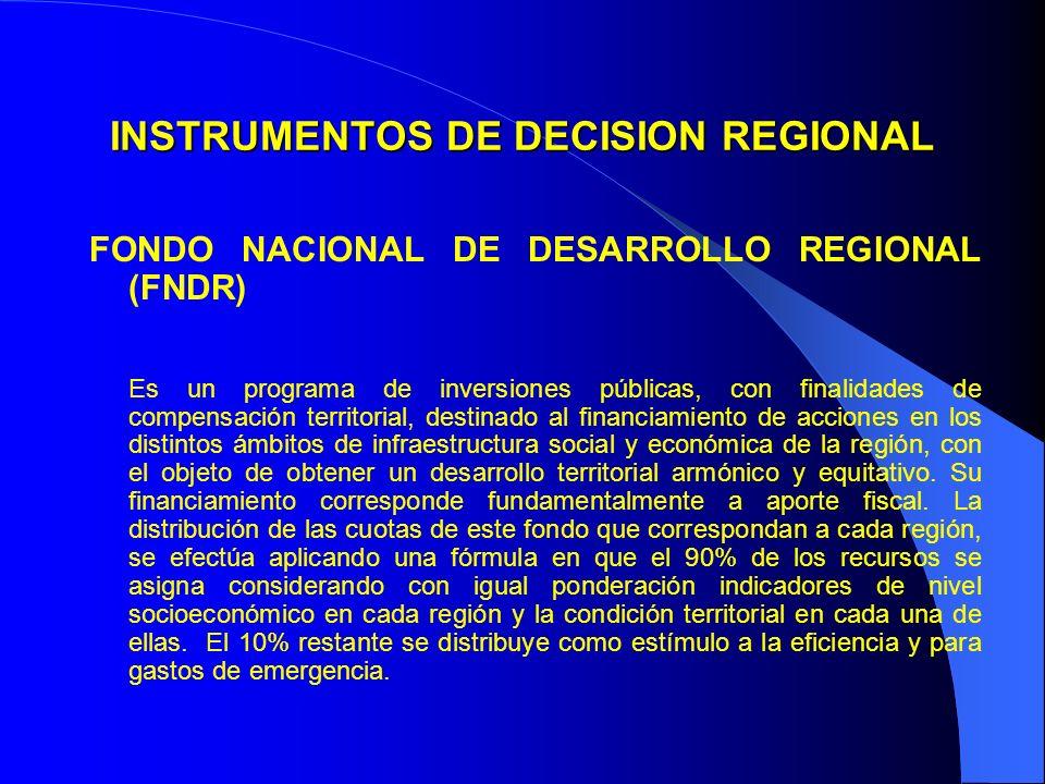 INSTRUMENTOS DE DECISION REGIONAL FONDO NACIONAL DE DESARROLLO REGIONAL (FNDR) Es un programa de inversiones públicas, con finalidades de compensación territorial, destinado al financiamiento de acciones en los distintos ámbitos de infraestructura social y económica de la región, con el objeto de obtener un desarrollo territorial armónico y equitativo.