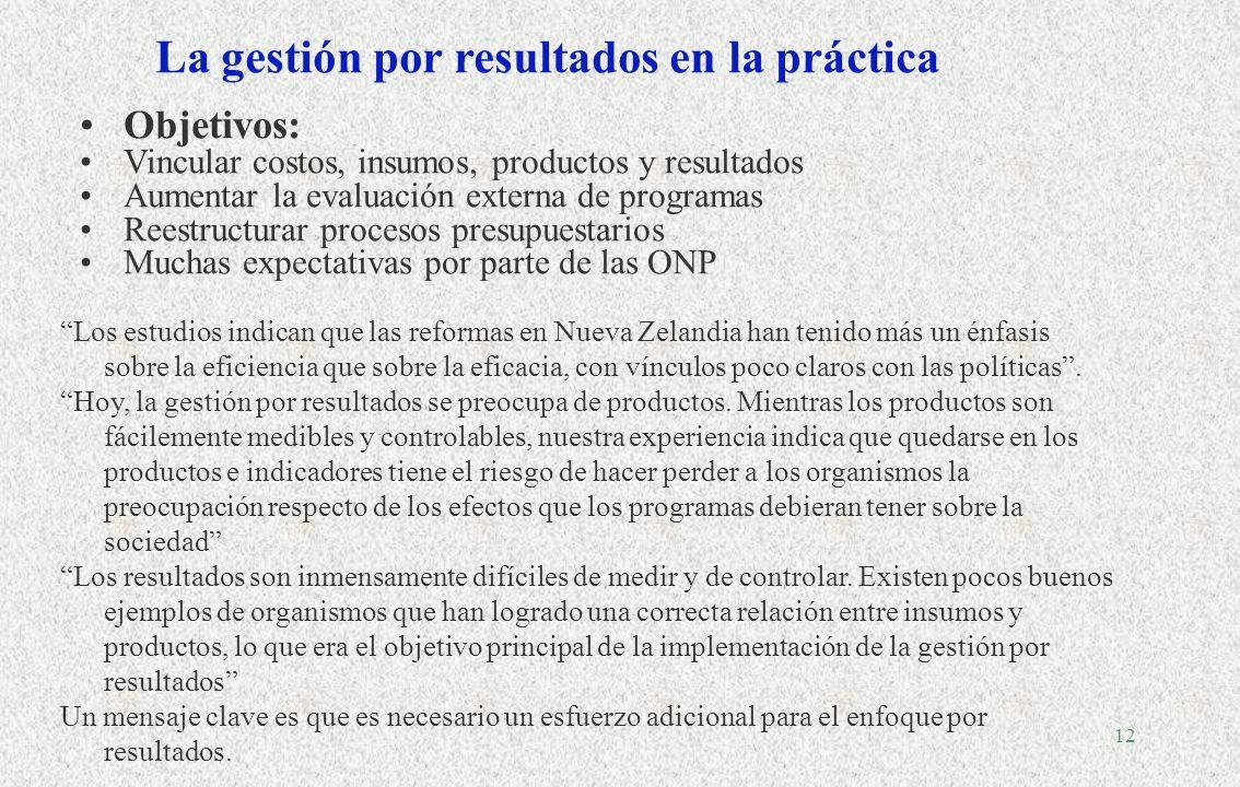 11 Presupuestar en América Latina Patologías Quién controla el gasto público? Multiplicidad de actores (FMI, ejecutivo central, Hacienda y Presidencia