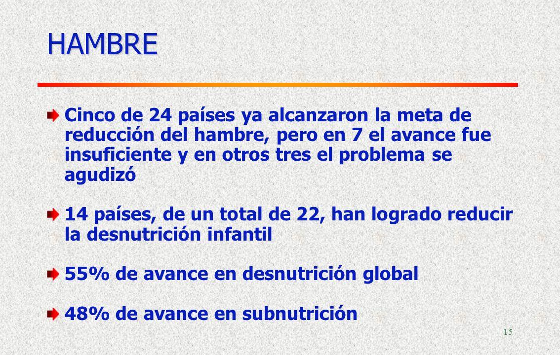 14 Pobreza extrema en 2004 Progreso desde 1990 PorcentajesPorcentaje de progreso Fuente: Comisión Económica para América Latina y el Caribe (CEPAL), s