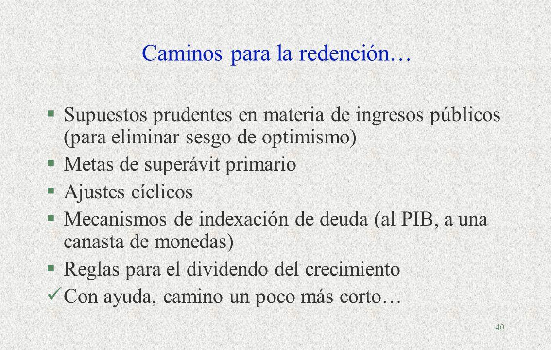 39 IV.Redención con reglas macro-fiscales? §Pecado original: imposibilidad de los países emergentes de endeudarse en moneda doméstica y a largo plazo.