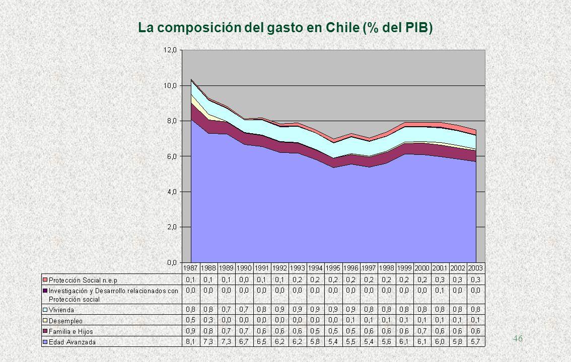 45 La composición del gasto en Chile (% del PIB)