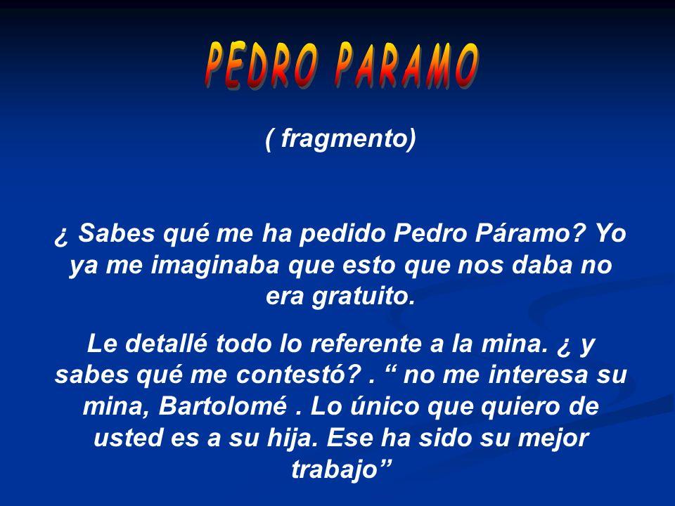 ( fragmento) ¿ Sabes qué me ha pedido Pedro Páramo? Yo ya me imaginaba que esto que nos daba no era gratuito. Le detallé todo lo referente a la mina.