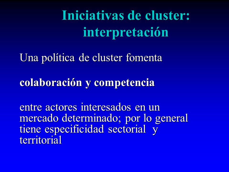 Una política de cluster fomenta colaboración y competencia entre actores interesados en un mercado determinado; por lo general tiene especificidad sec
