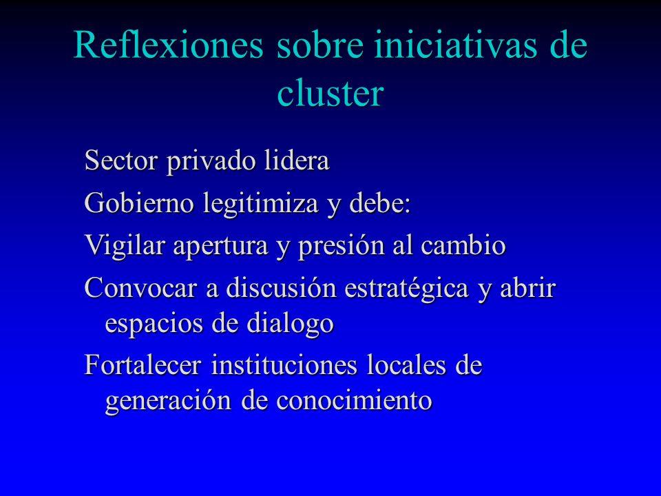 Reflexiones sobre iniciativas de cluster Sector privado lidera Gobierno legitimiza y debe: Vigilar apertura y presión al cambio Convocar a discusión e