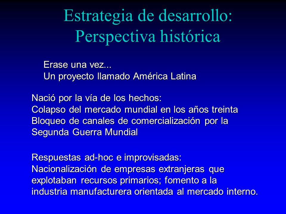 Estrategia de desarrollo: Perspectiva histórica Erase una vez... Un proyecto llamado América Latina Nació por la vía de los hechos: Colapso del mercad