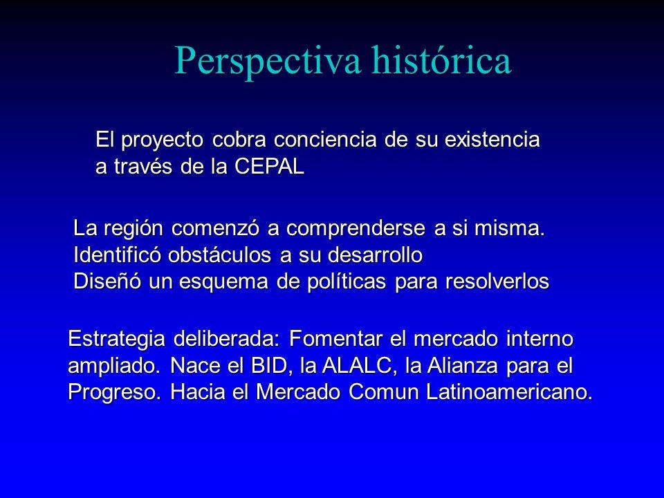 Perspectiva histórica El proyecto cobra conciencia de su existencia a través de la CEPAL La región comenzó a comprenderse a si misma. Identificó obstá