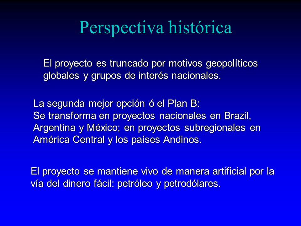 Perspectiva histórica El proyecto es truncado por motivos geopolíticos globales y grupos de interés nacionales. La segunda mejor opción ó el Plan B: S