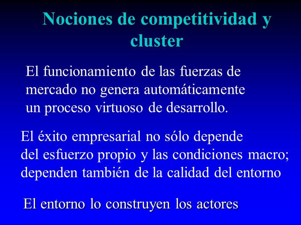 Nociones de competitividad y cluster Desarrollo económico y social requiere de empresas competitivas Para una empresa, ser competitiva es producir valor.